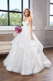 line wedding illusion neckline crystal sweetheart NZ - Corset Wedding Dresses 2019 Strapless Sweetheart Neckline Pleated Bodice Wedding Dress with Cascading Skirt Bridal Gowns
