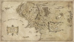 Lord rings print online shopping - Map of Middle Earth Lord Of The Rings Art Silk Print Poster x36inch x90cm