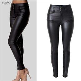 Black leggings designs online shopping - New Winter Elegant Ladies Fashion Pu Fleece Leather Leggings Feet Slim Pencil Trousers Wild Leather Pants Brand Design Women Dress