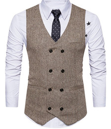 Brown Mens Vest 2019 Wool Groom Vests British Style Mens Suit Vests Slim Fit Custom Made mens designer ties Wedding Waistcoat on Sale