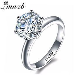 18krgp gold Australia - Lmnzb Luxury 2 Carat White Solitaire Ring Gold Filled With 18krgp Stamp Cubic Zirconia Engagement Wedding Rings For Women Lr168 T190627