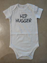 Cheap spring summer Clothes online shopping - Funny Baby Onesie White Bodysuit Infant Newborn HIP HUGGER print Cotton Baby boy Girl clothes Summer Cheap