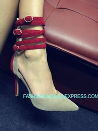 $enCountryForm.capitalKeyWord Australia - Sexy High heeled Pumps Suede leather Strappy Buckle Pointed toe Solid Spring Summer Evening Party Shoes Sapatos Femme Real Pics