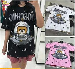 2019 nuevo diseñador de la marca de verano negro / BLANCO / rosa Camiseta Mujer Tops Camiseta de manga corta para hombre Womens X Bear Astronaut Tops Camisetas en venta