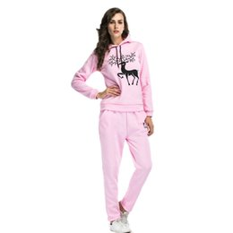 Winter Snow Suits Australia - 2018 Autumn And Winter Twinset Snow Deer Printing Even Hat Increase Rong Weiyi Trousers Will Code Leisure Time Suit Woman