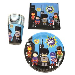 happy birthday plates wholesale NZ - 60pcs lot Happy Birthday Party Batman Superman Iron man Plates Decorate Cups Boys Favors Super Hero Theme Baby Shower Napkins