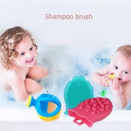 shower head massager UK - Shampoo Brush Baby Bath Shower Soft Silicone Hair Comb Massage Brushes Head Scalp Massager Baby Bath For 0-6Y Baby Care Harmless