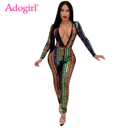$enCountryForm.capitalKeyWord NZ - Adogirl Colorful Stripe Sequins Bandage Jumpsuit Women Sexy Night Club Party Romper Deep V Neck Long Sleeve Sheer Mesh Jumpsuits