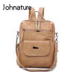 Strap Backpacks Australia - Johnature 2019 New Softback Zipper Arcuate Shoulder Strap Soft Handle Casual Silt Pocket Solid Women Backpack Shoulder Bags
