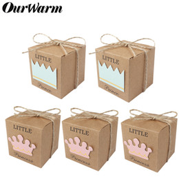 birthday princess party box NZ - OurWarm Kraft Cardboard Candy Gift Box Prince Princess Paper Bags Baptism Favors Baby Shower Birthday Party Decoration 50 100pcs