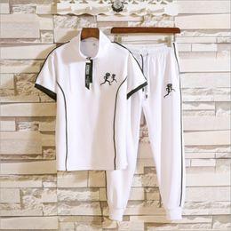 Discount sports polo shirts wholesale - Men's Two Piece Suits Polo Sport Shirt + Pants Suits Short Sleeve Shirt Brand Polo Shirt Designer Tops 4 Colors Plu