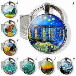 Painting Faces Australia - 2019 new retro oil painting series art pendants Expressionist artist cabochon glass pendant keychain Handmade gift set