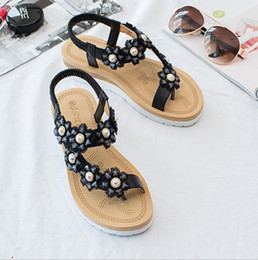 pearl back shoes Australia - Summer New Imitation Pearl Beaded Set Toe Flat Sandals Flower Thong Sandals Bohemian Fashion Women Shoes