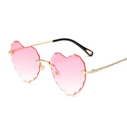 heart shaped mirror sunglasses 2019 - Fashion Rimless sunglasses women New Arrival Heart shape Love eyewear female Good Quality Sun Glasses UV400 Travel Shopp