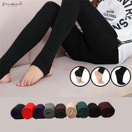 Thick fooTed leggings online shopping - Autumn Womens Winter Thick Warm Legging Trample Feet Leggings Female Solid Color Leggings Brushed Lining Stretch Fleece Polyester Pants