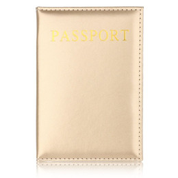 Cheap Business Card Holders Wholesale Australia - TRASSORY General Passport Holder Cheap Leather Passport Covers Lightweight Business Travel Luggage Cover Gold Case
