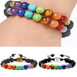 yoga bracelets Canada - Newest Natural Lava Stone Bracelet Tree of Life Bracelet 7 Chakra Braided Rope Yoga Beads Bracelets For Men Women Jewelry Free DHL D235S A