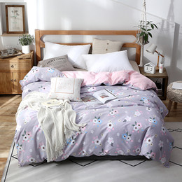 Discount queen pink comforter cover Lavender Print Duvet Cover Comforter Quilt  Case 100% Cotton Soft With Zipper Twin Full Queen King Double Single Size
