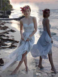 grey wedding dress sash Australia - Light Grey Designer Beach Country Wedding Dresses Chiffon Illusion Neck Appliques Beaded Cheap Bridal Gowns Holiday Summer Covered