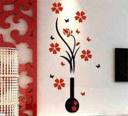3d flower decorations for home NZ - Hot Garden DIY Vase Flower Tree 3D Wall Stickers Decal Home Decor Adesivo De Parede Wallpapers For Livingrooms Kitchen Decorations