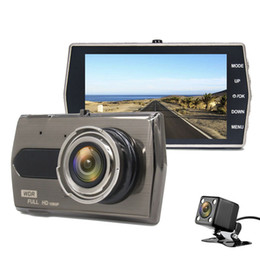 Dual rearview camera online shopping - 4 quot car DVR dash camera full HD video recorder vehicle driving camcorder Ch dual lens P G sensor loop recording parking monitor