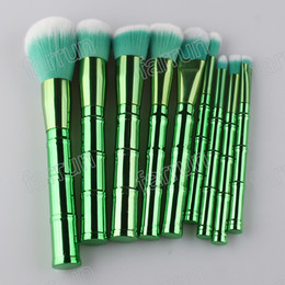 bamboo finish UK - 9pcs per set makeup brushes electroplated finishes bamboo shape plastic handle brush 4 color green,gold rose,slivery,golden new design