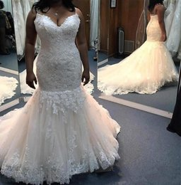 Wholesale dress up mermaid tails online – ideas New Arrival Plus Size Mermaid Lace Bridal Wedding Dresses Spaghetti Lace up Back Tulle Ruffle Bottom Sleeveless Long Tail Wedding Dress