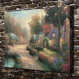 Framed Painting Scenery Australia - Thomas Kinkade,Cobblestone Lane Scenery,1 Pieces Canvas Prints Wall Art Oil Painting Home Decor (Unframed Framed) 24x32