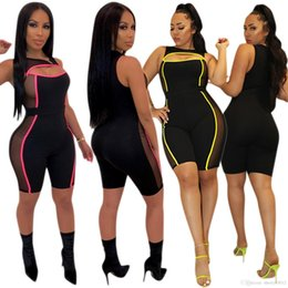 see through jumpsuit romper NZ - HISIMPLE 2019 Women Sexy Jumpsuit Low Cut Hollow Out Patchwork Mesh See Through Sheath Night Club Playsuit Elastic Romper Bodysuits size 2XL