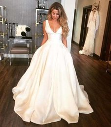 $enCountryForm.capitalKeyWord NZ - 2019 Vintage V Neck A Line Wedding Dresses Satin Ivory Floor Length Church Bridal Gown For Country Style Wear