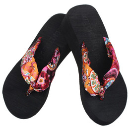 Ladies yeLLow sandaLs online shopping - New arrival fashion Women Bohemia Floral Beach Sandal Wedge Platform Thongs Slippers Lady Flip Flops
