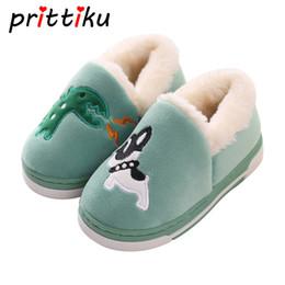 $enCountryForm.capitalKeyWord Australia - Cartoon Animal Dinosaur Home Shoes Kid Fur Lined Indoor House Winter Warm Slipper Booties for Baby Toddler Little Boy Girl Child