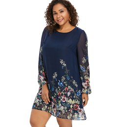 plus size vintage style dresses UK - Wipalo Navy Blue Plus Size Floral Embroidery Tunic Dress Spring Summer Elegant Large Sizes Tribal Flower Print Vocation Dress Y190425