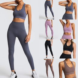 ladies gym suit Canada - 2 Piece Women Yoga Set Gym Clothing Seamless Fitness Leggings+Cropped Shirts Sport Suit Ladies Long Sleeve Tracksuit Active Wear