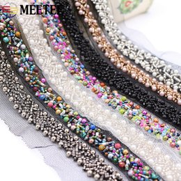 sew clothes accessory Canada - Meetee Manual Beaded Lace Trim Polyester Mesh Beads Decoration Lace Ribbon DIY Clothes Sewing Crop Accessories KY022
