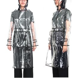 $enCountryForm.capitalKeyWord Australia - Eva Transparent Raincoat Long Raincoat For Women Waterproof Jacket Windbreaker Rain Poncho With Belt Outdoors Capa De Lluvia T8190615