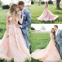 short blush wedding dresses Australia - Gorgeous Blush Pink Wedding Dresses Applique Lace Illusion Deep V Neck Sweep Train Garden country Wedding Bridal Gowns