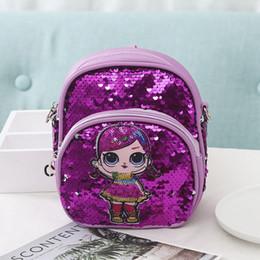 $enCountryForm.capitalKeyWord Australia - Free DHL Sequin Kids Toys Gift Bags 6 Colors Doll Cartoon Backpack 2019 Children School Backpacks Mini Shoulder Bag for Women Girl M136F