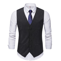 $enCountryForm.capitalKeyWord NZ - 2019 gentleman Man's suit Single breasted Classic Vertical stripe vest Business clothes Jacket Man Leisure Groomsman vest Tops