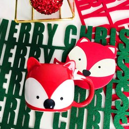 Starbucks Coaster Australia - New Starbucks Christmas Fox coffee cup 296ML red jungle Fox 3D Head ceramics mug with Coaster Xmas gift