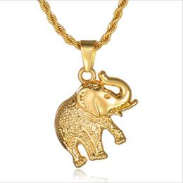 $enCountryForm.capitalKeyWord Australia - Fashion Men Women Charm Hip-hop Golden Stainless Steel Elephant Pendant Necklace Long Chain Jewelry Free Shipping