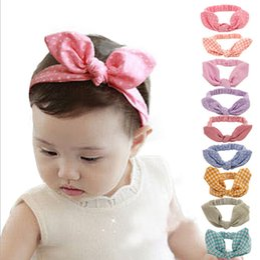 Headbands Bow Australia - Cute Baby rabbit ear Headbands Kids Infant Linen Bow Dot Striped hair headdress Children Hair Accessories Christmas Party Gift