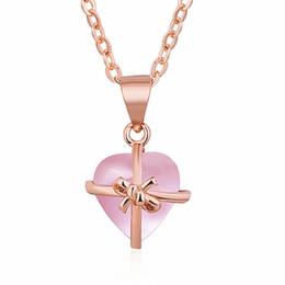 $enCountryForm.capitalKeyWord Australia - 2019 new natural gemstone powder crystal precious rose gold necklace core pendant lock bone chain