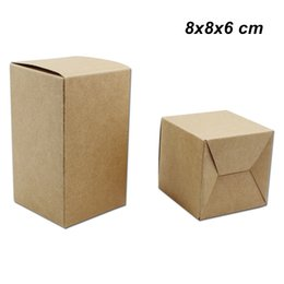 kraft jewelry gift boxes UK - 8x8x6 cm 20Pcs Lot Kraft Paper Folding Gifts Party Favors Storage Packaging Box Kraft Paperboard Crafts Arts Box for Chocolate Candy Jewelry