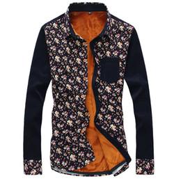 $enCountryForm.capitalKeyWord Australia - 2018 New autumn and winter plus velvet printed corduroy long-sleeved shirt Men's warm shirt High quality ultra low price