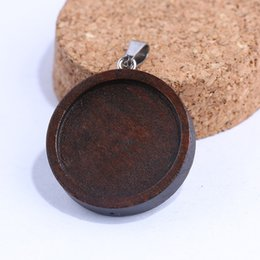 pendant trays Australia - Shukaki Wood Cabochon Base Setting 20mm 25mm Dia Wooden Blank Pendant Bezel Trays Diy Jewelry Making Accessories