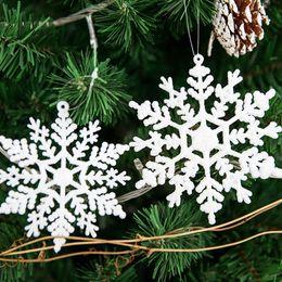 $enCountryForm.capitalKeyWord Australia - Snowflake Glitter Christmas Ornament White Plastic Christmas Snowflake Tree Frozen Window Decorations For Home