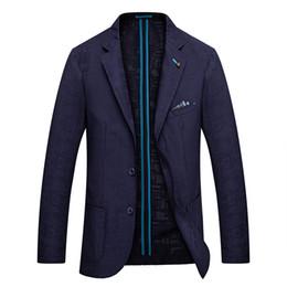 Discount dinner coat men - Men Blazer Slim fit Suits Jacket Autumn Wedding Suits Coat Blue Striped Suit Party Jacket Men Elegant Casual Dinner