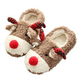 Home Plush Slippers Australia - WENYUJH Womans Shoes Christmas Deer Winter Flock Plush Warm Indoor Floor Cotton Slippers Home Slippers Anti-Skid Shoes