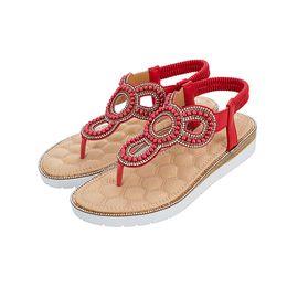 Band Straps Australia - Ladies Fashion Shoes Roman Band Flat Sandals ohemian Ankle T Strap Thong Shoes Casual Shoes